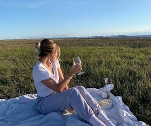 picnic, girl, and popcorn image