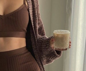 brown, outfit, and coffee image