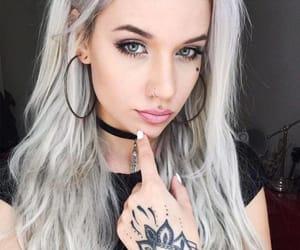 blonde, choker, and earrings image