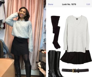 black skirt, tights, and grey sweater image