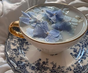 flowers, tea, and blue image