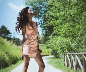 curly hair, pink dress, and skinny girl image