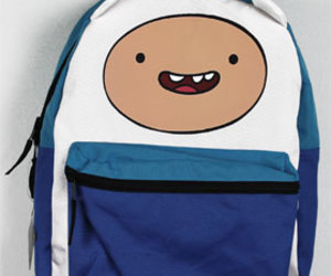 backpack, finn, and adventure time image
