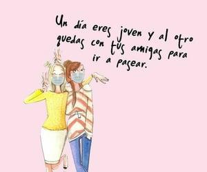 amigas, amistad, and frases español image