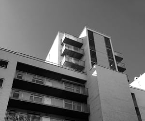 architecture, apartment building, and bnw image