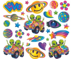 colourful, ufo, and stickers image