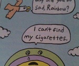 rainbow, cigarette, and sad image
