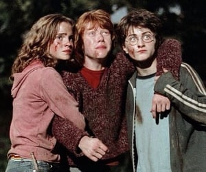 golden trio, harry potter, and hermione ron harry image