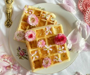 waffles, breakfast, and flowers image