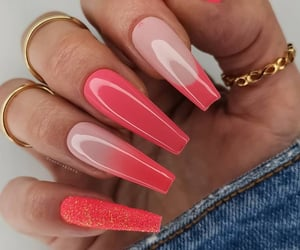 beauty, coral, and nails image