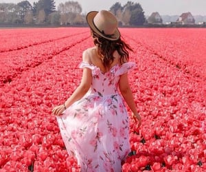beauty, flowers, and woman image