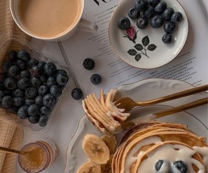 food, pancakes, and and coffee image image