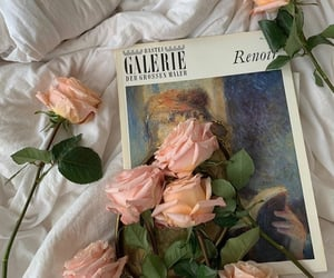 flowers, rose, and book image