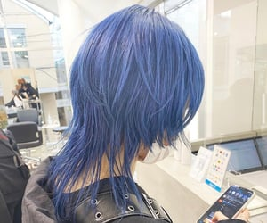 aesthetic, blue hair, and dark image