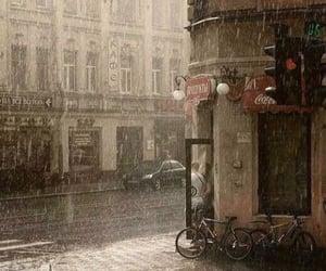 rain, bikes, and street image