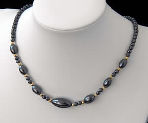 silver necklace, gift for her, and hematite necklace image