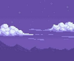 clouds, pixel, and purple image