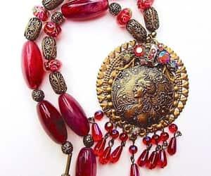 Art Nouveau, lucite, and red necklace image
