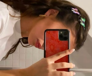 girls, hair accessories, and mirror selfie image