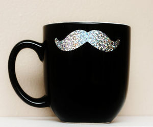 mustache, black, and cup image