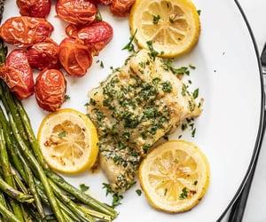 asparagus, lemon, and parsley image