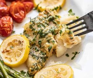 bake, garlic butter, and cod fish image