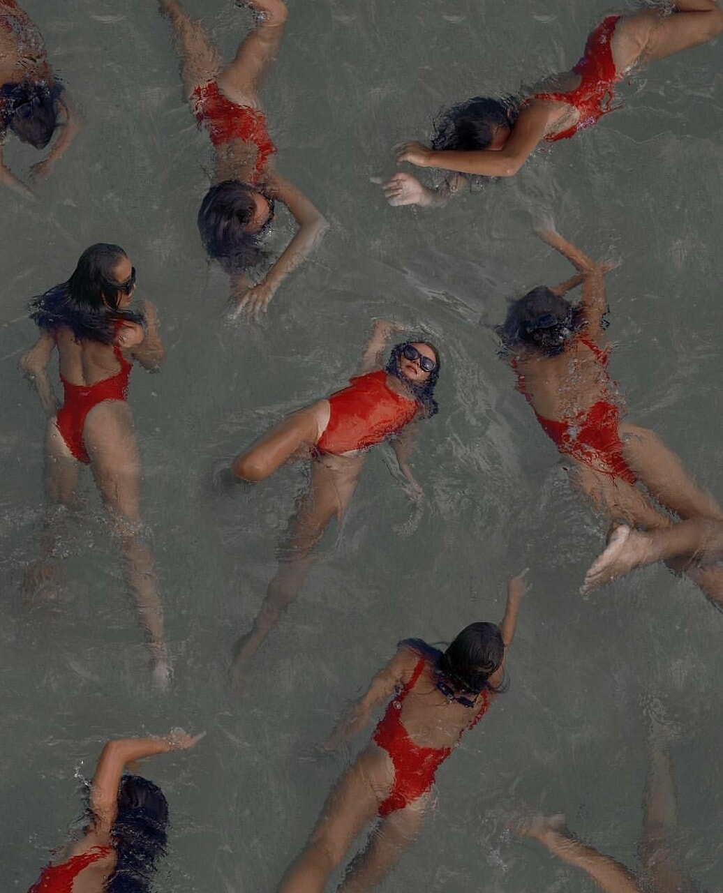 red, swimming, and water image