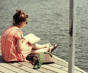 girl, book, and sea image