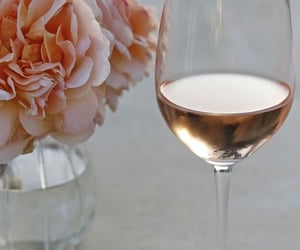 flowers, wine, and pink image