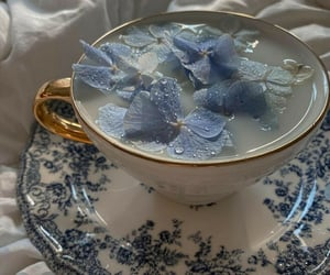 flowers, blue, and tea image