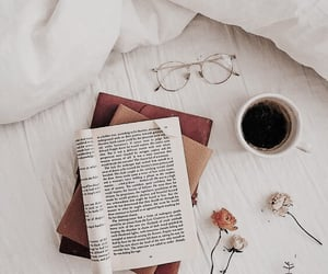 book, flowers, and bed image