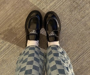 prada shoes, everyday look, and black loafers image
