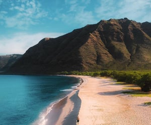 beach, beautiful, and montains image