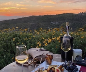 food, picnic, and sunset image