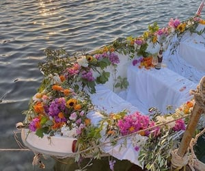 flowers, aesthetic, and boat image