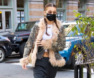 faux fur, street style, and white crop top image