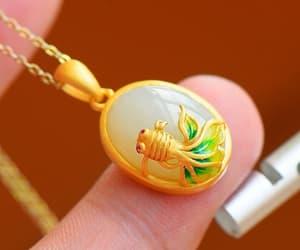 etsy, fish, and gemstone necklace image