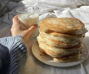 food, milk, and pancakes image