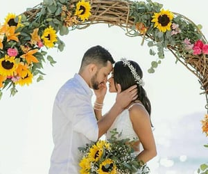 bride, beach wedding, and love image