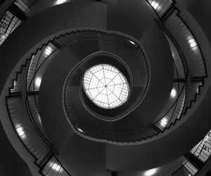 b&w, staircase, and architecture image