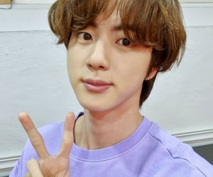 brown hair, jin, and purple image