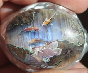 lacquer stone and koi on the moon stone image