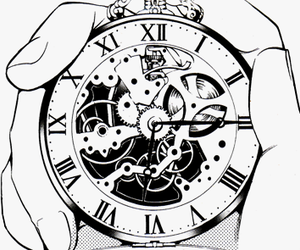 black and white, clock, and anime image