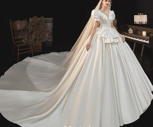 ball gown, deep v-neck, and satin image