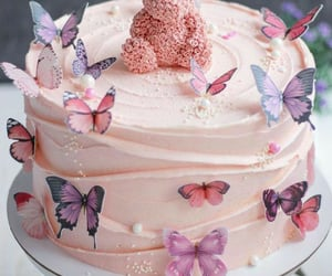 bear, butterfly, and cake image