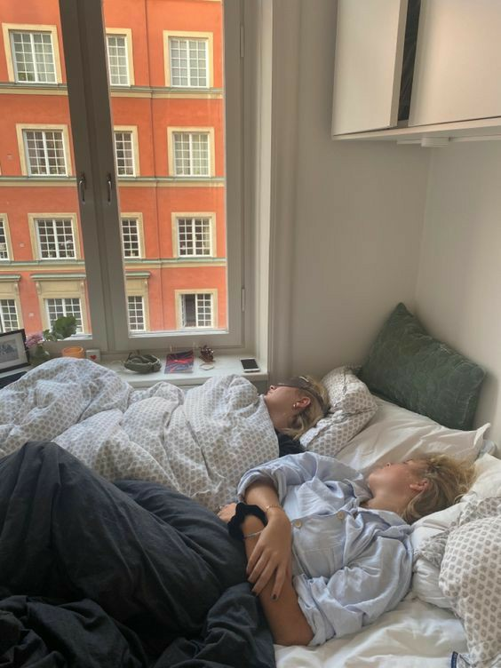 bed, friendship, and sleep over image