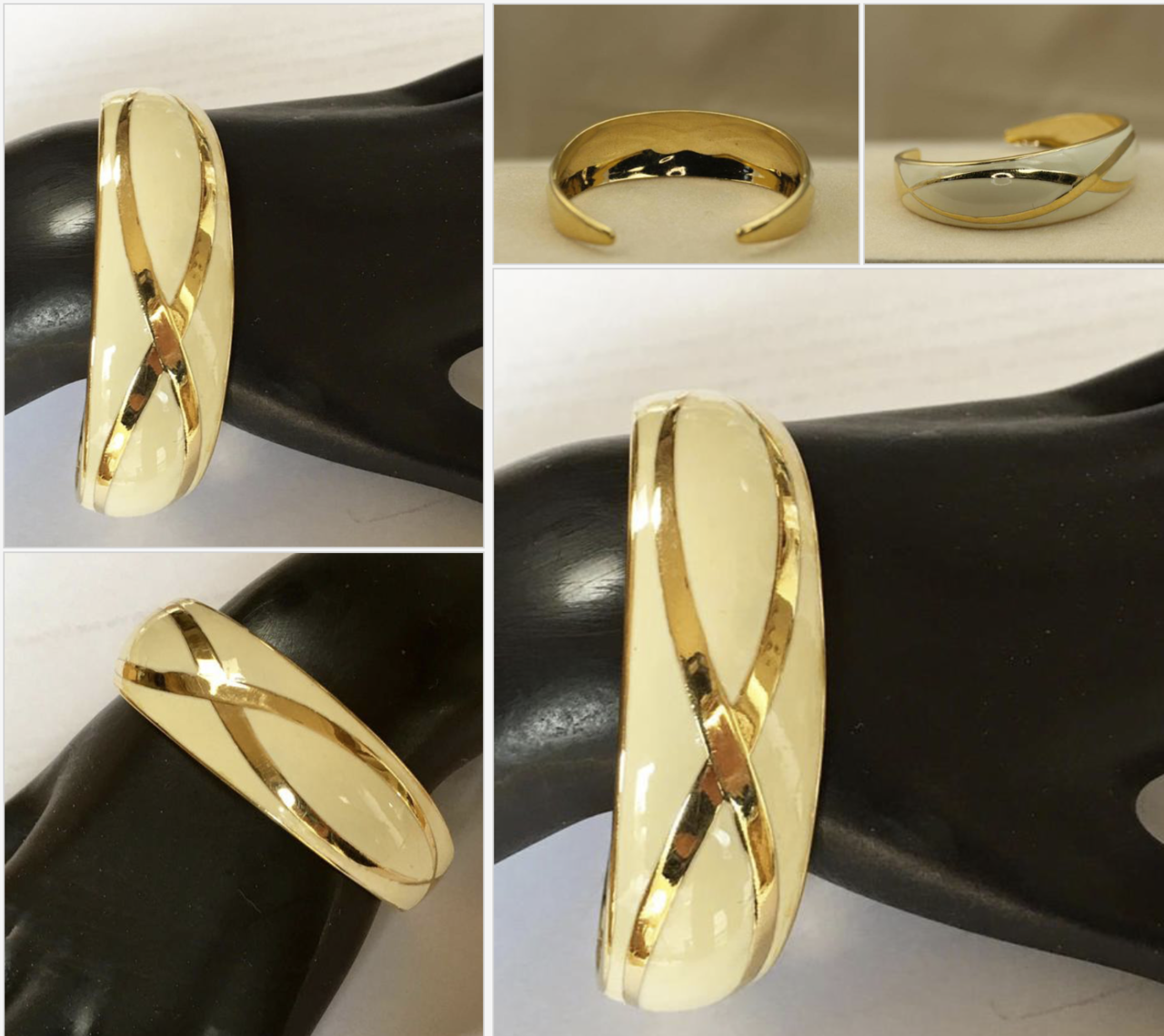 bangle bracelet, 21vintagestreet, and cream and gold image