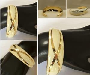 Creme anad gold enamel cuff