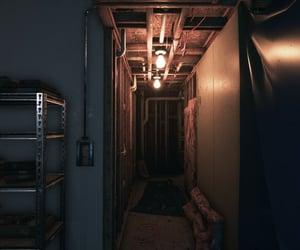 basement, hallway, and dark image