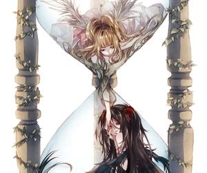 angel, art, and black hair image